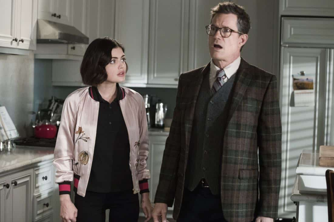 """Life Sentence -- """"Re-Inventing the Abbotts"""" -- Image Number: LFS102c_0156b.jpg -- Pictured (L-R): Lucy Hale as Stella and Dylan Walsh as Peter -- Photo: Jack Rowand/The CW -- © 2018 The CW Network, LLC. All Rights Reserved."""