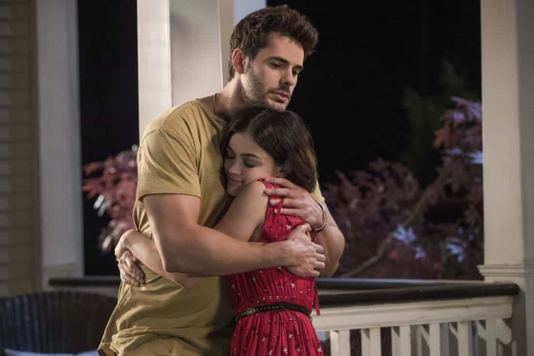 """Life Sentence -- """"Re-Inventing the Abbotts"""" -- Image Number: LFS102c_0431b.jpg -- Pictured (L-R): Jayson Blair as Aiden and Lucy Hale as Stella -- Photo: Jack Rowand/The CW -- © 2018 The CW Network, LLC. All Rights Reserved."""