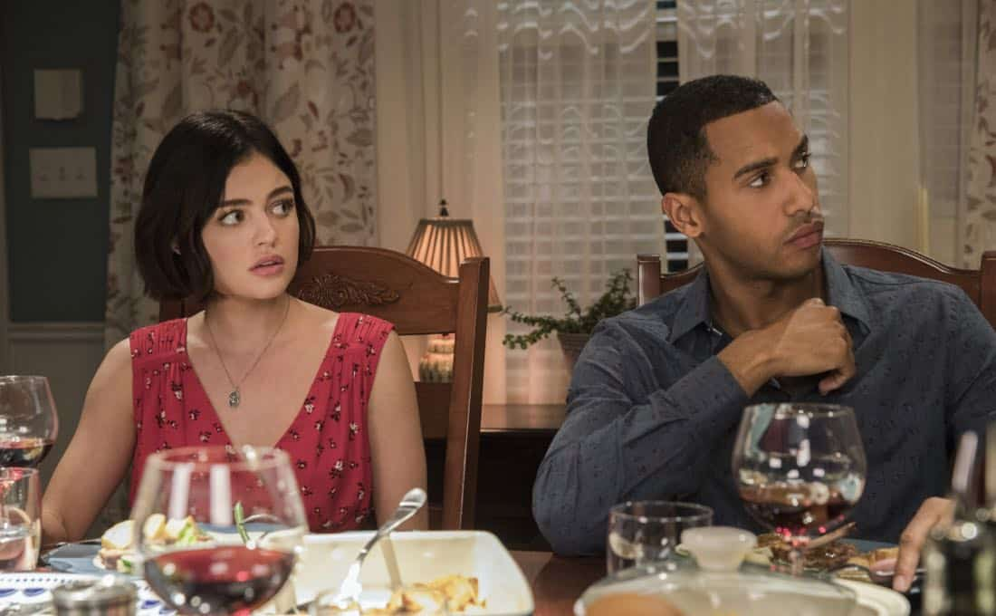 """Life Sentence -- """"Re-Inventing the Abbotts"""" -- Image Number: LFS102b_0198b.jpg -- Pictured (L-R): Lucy Hale as Stella and Elliot Knight as Wes -- Photo: Jack Rowand/The CW -- © 2018 The CW Network, LLC. All Rights Reserved."""