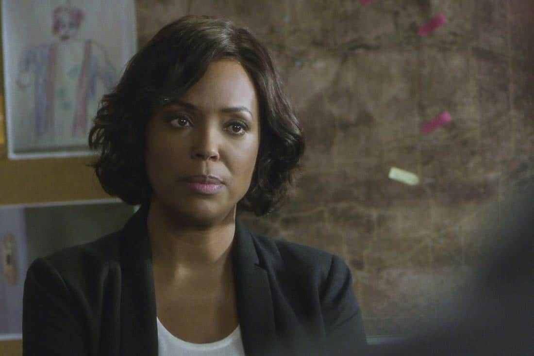 ÒThe CapilanosÓ Ð The BAU is called to Oklahoma to investigate a murderous clown terrorizing the sleepy town of Guymon, on CRIMINAL MINDS, Wednesday, March 21 (10:00-11:00 PM, ET/PT) on the CBS Television Network.  Pictured: Aisha Tyler (Dr. Tara Lewis)  Photo: Best Screen Grab Available ©2018 CBS Broadcasting, Inc. All Rights Reserved