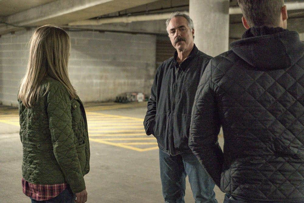 "CHICAGO P.D. -- ""Ghosts"" Episode 518 -- Pictured: (l-r) Tracy Spiridakos as Hailey Upton, Titus Welliver as Ronald Booth-- (Photo by: Matt Dinerstein/NBC)"