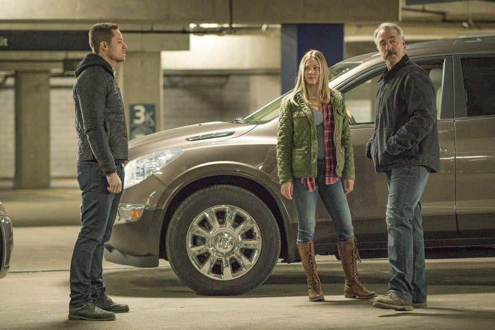 "CHICAGO P.D. -- ""Ghosts"" Episode 518 -- Pictured: (l-r) Jesse Lee Soffer as Jay Halstead, Tracy Spiridakos as Hailey Upton, Titus Welliver as Ronald Booth -- (Photo by: Matt Dinerstein/NBC)"