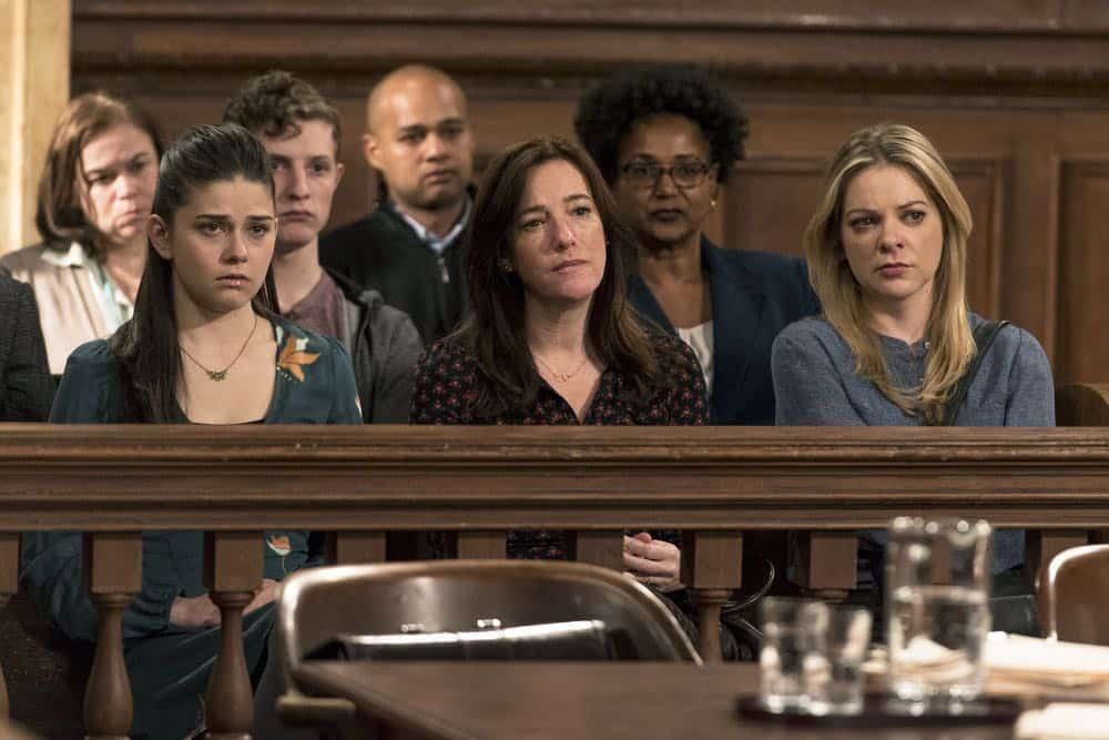 "LAW & ORDER: SPECIAL VICTIMS UNIT -- ""Send in the Clowns"" Episode 1917 -- Pictured: (l-r) Molly Brown as Jenni Hanson, Wendy Hoopes as Anna Sadler, Jillian Louis as Charlotte Cooke -- (Photo by: David Giesbrecht/NBC)"