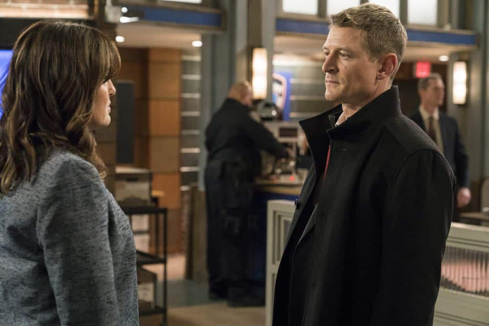 "LAW & ORDER: SPECIAL VICTIMS UNIT -- ""Send in the Clowns"" Episode 1917 -- Pictured: (l-r) Mariska Hargitay as Lieutenant Olivia Benson, Philip Winchester as Peter Stone -- (Photo by: David Giesbrecht/NBC)"