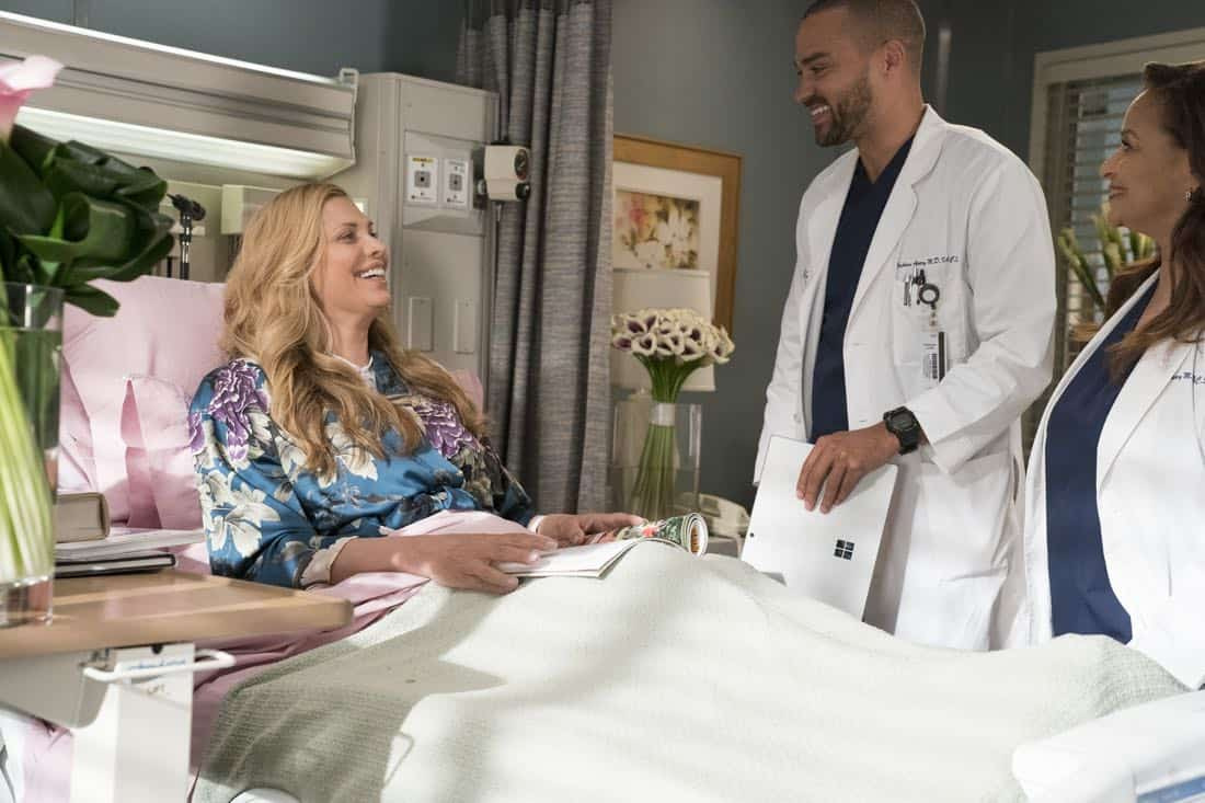 "GREY'S ANATOMY - ""Caught Somewhere in Time"" - Maggie and Jackson are enjoying spending time together, but he must turn his concentration toward the groundbreaking vaginoplasty surgery he has scheduled with Catherine and Richard. Meanwhile, Meredith and Jo hit a roadblock with their contest submission, so Jo helps Bailey with an incoming trauma patient who used to be an astronaut, on ""Grey's Anatomy,"" THURSDAY, MARCH 22 (8:00-9:00 p.m. EDT), on The ABC Television Network. (ABC/Mitch Haaseth) CANDIS CAYNE, JESSE WILLIAMS, DEBBIE ALLEN"