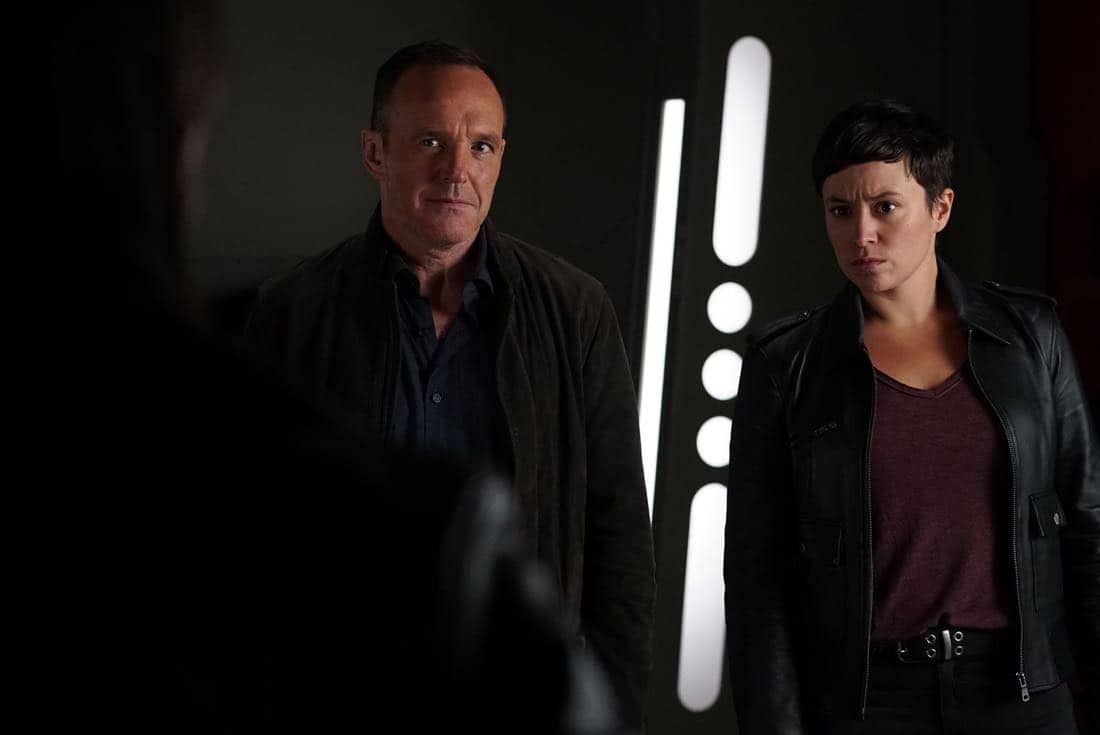 """MARVEL'S AGENTS OF S.H.I.E.L.D. - """"The Devil Complex"""" - As Fitz and Simmons race to find a way to seal the Rift, they are faced with one of their greatest fears manifested, on """"Marvel's Agents of S.H.I.E.L.D.,"""" FRIDAY, MARCH 23 (9:01-10:01 p.m. EDT), on The ABC Television Network. (ABC/Eric McCandless) CLARK GREGG, BRIANA VENSKUS"""