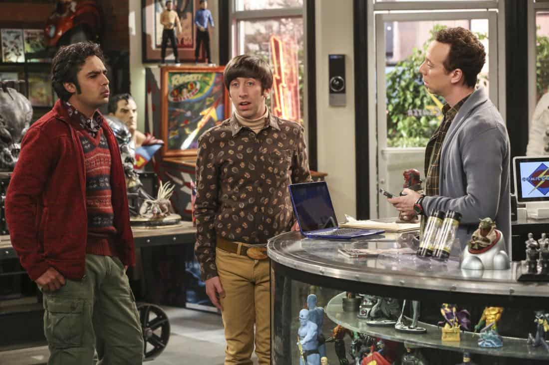 """The Tenant Disassociation"" - Pictured: Rajesh Koothrappali (Kunal Nayyar), Howard Wolowitz (Simon Helberg) and Stuart (Kevin Sussman). When Leonard learns Sheldon is the president of the tenants association, he decides to run against him. Also, Bernadette encourages Wolowitz and Koothrappali to find the owner of a drone after they find it in the backyard, on THE BIG BANG THEORY, Thursday, April 5 (8:00-8:31 PM, ET/PT) on the CBS Television Network. Photo: Michael Yarish/Warner Bros. Entertainment Inc. © 2018 WBEI. All rights reserved."