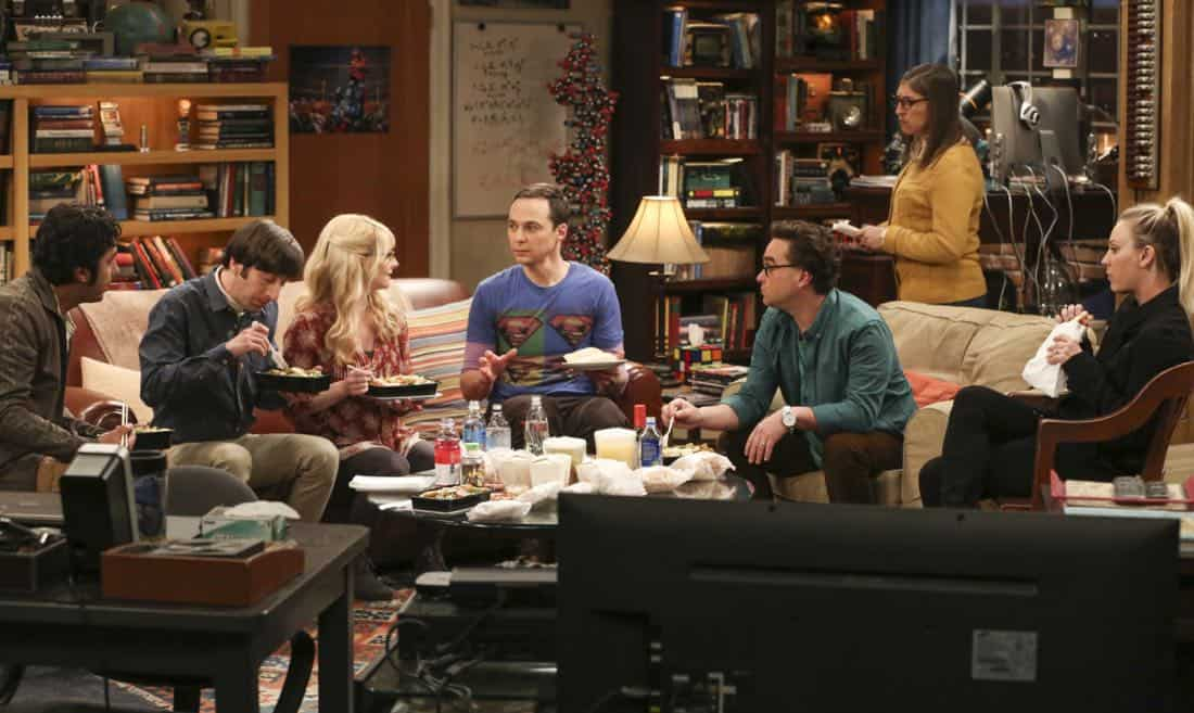 """The Tenant Disassociation"" - Pictured: Rajesh Koothrappali (Kunal Nayyar), Howard Wolowitz (Simon Helberg), Bernadette (Melissa Rauch), Sheldon Cooper (Jim Parsons), Leonard Hofstadter (Johnny Galecki), Amy Farrah Fowler (Mayim Bialik) and Penny (Kaley Cuoco). When Leonard learns Sheldon is the president of the tenants association, he decides to run against him. Also, Bernadette encourages Wolowitz and Koothrappali to find the owner of a drone after they find it in the backyard, on THE BIG BANG THEORY, Thursday, April 5 (8:00-8:31 PM, ET/PT) on the CBS Television Network. Photo: Michael Yarish/Warner Bros. Entertainment Inc. © 2018 WBEI. All rights reserved."