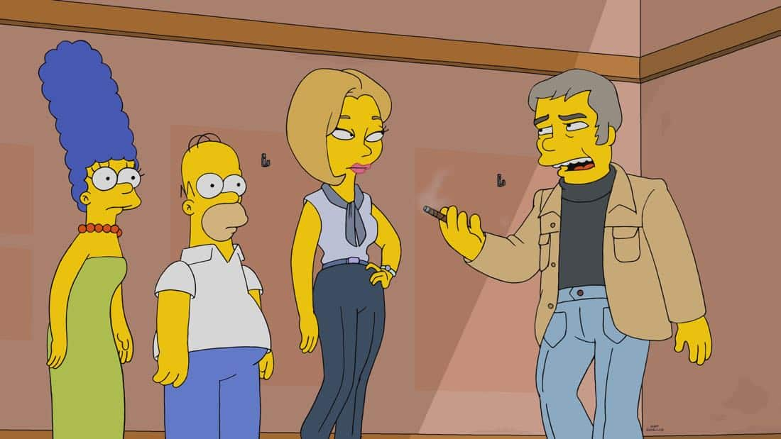 "THE SIMPSONS: When Homer is accused of stealing a million-dollar painting, only a detective from the 1970s can clear his name, or send him to jail. It's a classic impossible mystery in the all-new ""Homer Is Where The Art Isn't"" episode of THE SIMPSONS airing Sunday, March 11, (8:00-8:30 PM ET/PT) on FOX. Pictured L-R: Marge, Homer, Megan (guest voice Cecily Strong) and Manacek (guest voice Bill Hader). THE SIMPSONS ™ and © 2017 TCFFC ALL RIGHTS RESERVED."