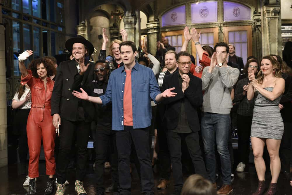 """SATURDAY NIGHT LIVE -- Episode 1741 """"Bill Hader"""" -- Pictured: Host Bill Hader with Musical Guest Arcade Fire and Fred Armisen during """"Goodnights & Credits"""" in Studio 8H on Saturday, March 17, 2018 -- (Photo by: Will Heath/NBC)"""