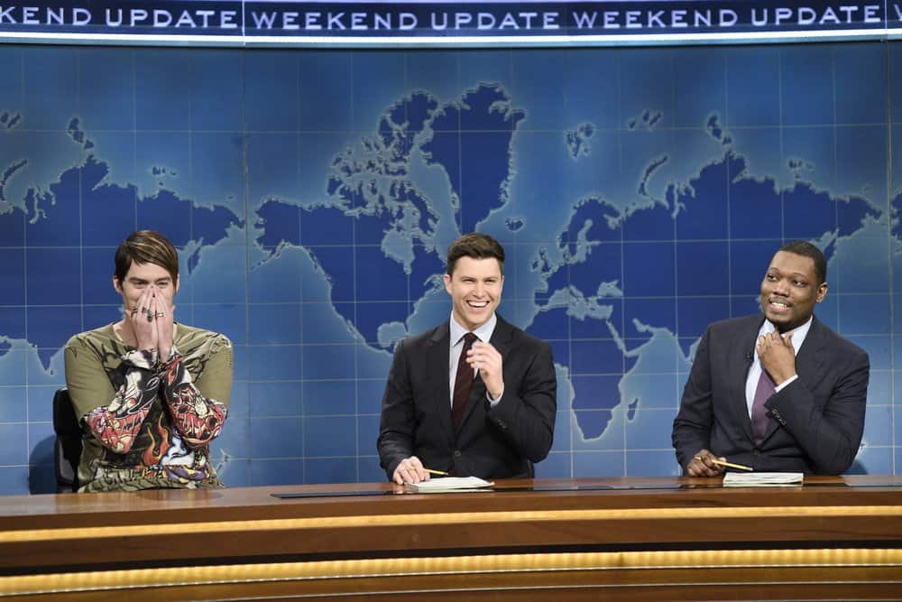 """SATURDAY NIGHT LIVE -- Episode 1741 """"Bill Hader"""" -- Pictured: (l-r) Bill Hader as Stefon, Colin Jost, Michael Che during """"Weekend Update"""" in Studio 8H on Saturday, March 17, 2018 -- (Photo by: Will Heath/NBC)"""