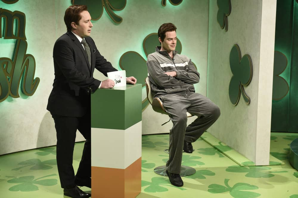 """SATURDAY NIGHT LIVE -- Episode 1741 """"Bill Hader"""" -- Pictured: (l-r) Beck Bennett as Aiden Kilkenny, Bill Hader as Niall during """"Irish Dating Show"""" in Studio 8H on Saturday, March 17, 2018 -- (Photo by: Will Heath/NBC)"""