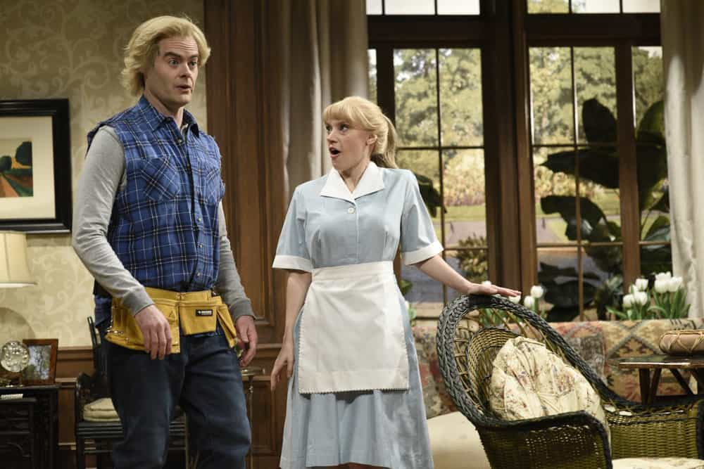"""SATURDAY NIGHT LIVE -- Episode 1741 """"Bill Hader"""" -- Pictured: (l-r) Bill Hader as Devon, Kate McKinnon as Marie during """"The Californians"""" in Studio 8H on Saturday, March 17, 2018 -- (Photo by: Will Heath/NBC)"""