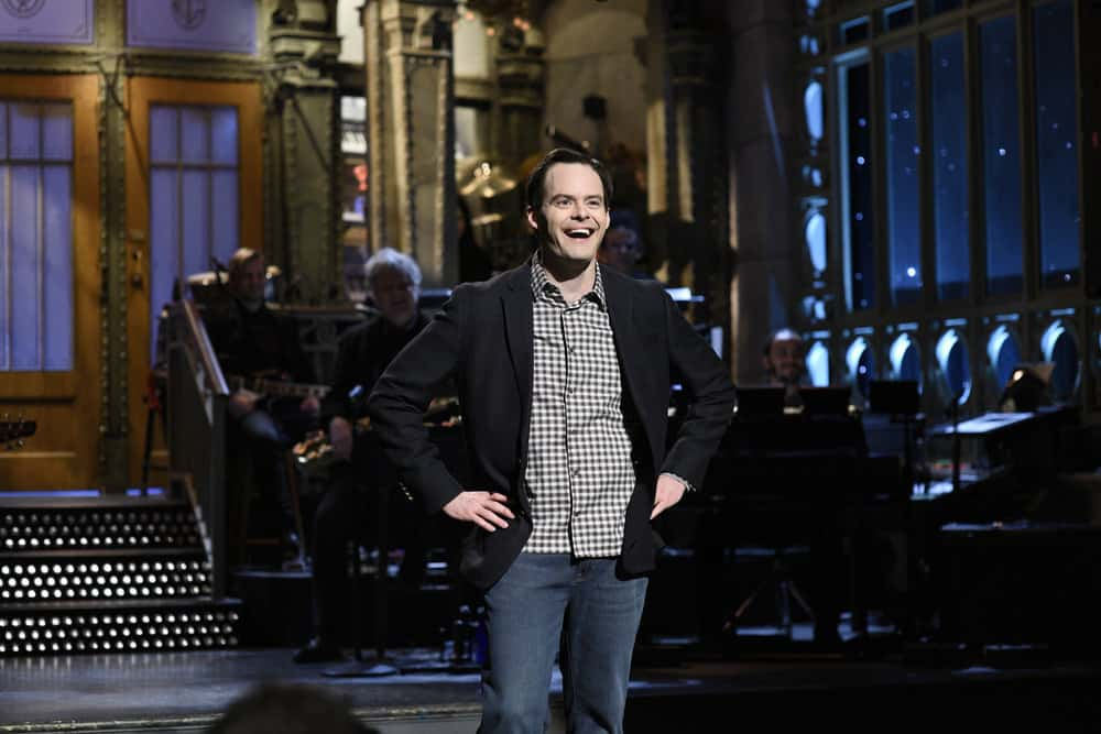 """SATURDAY NIGHT LIVE -- Episode 1741 """"Bill Hader"""" -- Pictured: Host Bill Hader during """"Opening Monologue"""" in Studio 8H on Saturday, March 17, 2018 -- (Photo by: Will Heath/NBC)"""