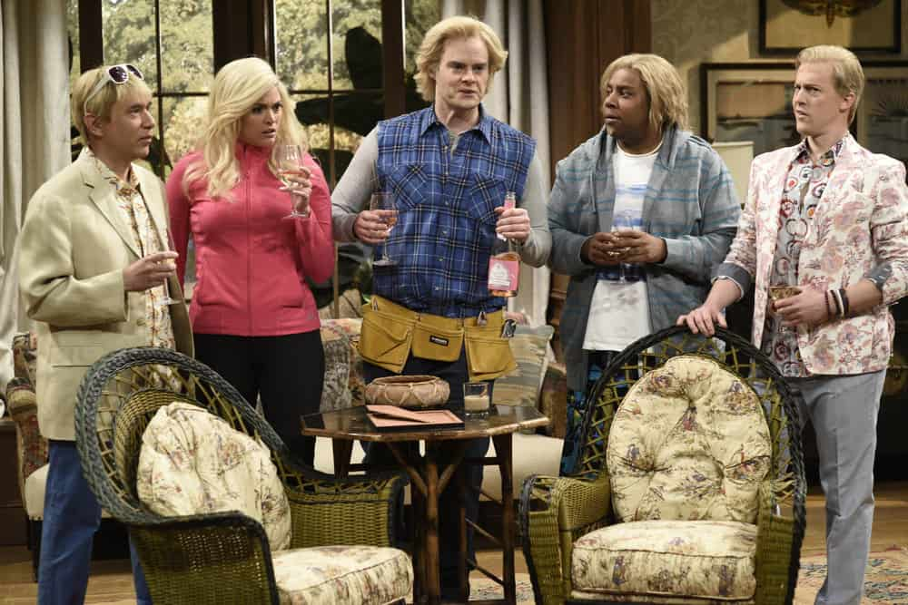 """SATURDAY NIGHT LIVE -- Episode 1741 """"Bill Hader"""" -- Pictured: (l-r) Fred Armison as Stuart, Cecily Strong as Sumner, Bill Hader as Devon, Kenan Thompson Alex Moffat during """"The Californians"""" in Studio 8H on Saturday, March 17, 2018 -- (Photo by: Will Heath/NBC)"""