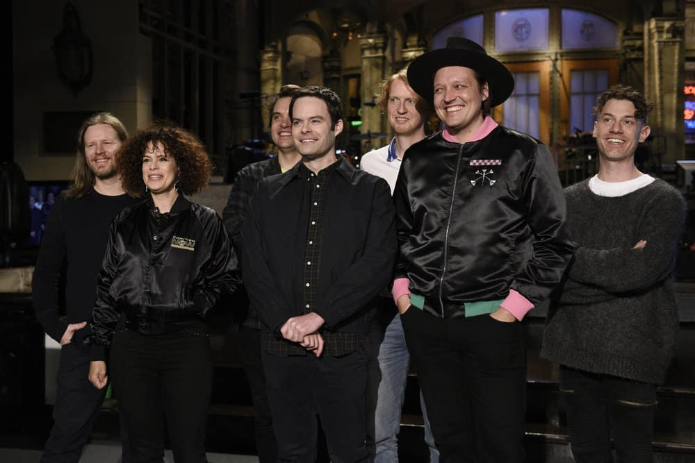 """SATURDAY NIGHT LIVE -- Episode 1741 """"Bill Hader"""" -- Pictured: Musical Guest Arcade Fire with Host Bill Hader during a promo in 30 Rockefeller Plaza -- (Photo by: Rosalind O'Connor/NBC)"""
