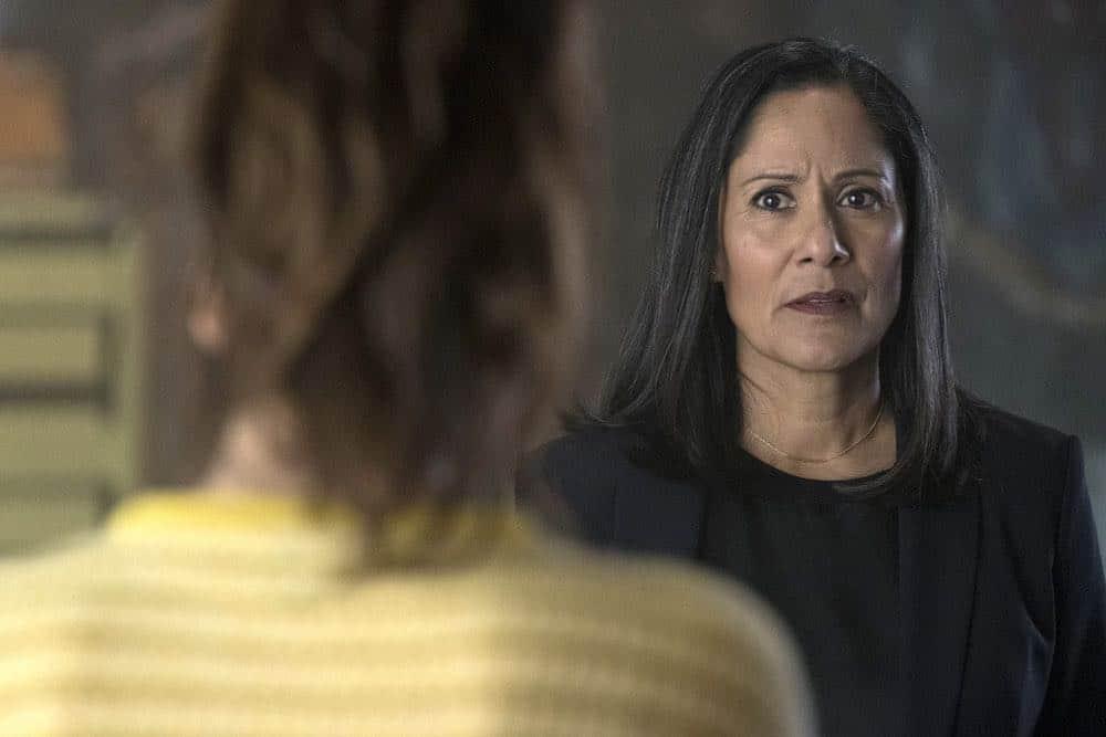 "TIMELESS -- ""Hollywoodland"" Episode 203 -- Pictured: (l-r) Claudia Doumit as Jiya, Sakina Jaffrey as Denise Christopher -- (Photo by: Justin Lubin/NBC)"