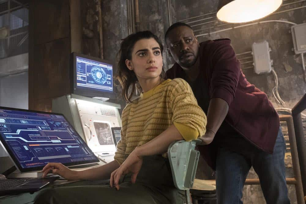 """TIMELESS -- """"Hollywoodland"""" Episode 203 -- Pictured: (l-r) Claudia Doumit as Jiya, Malcolm Barrett as Rufus Carlin -- (Photo by: Justin Lubin/NBC)"""