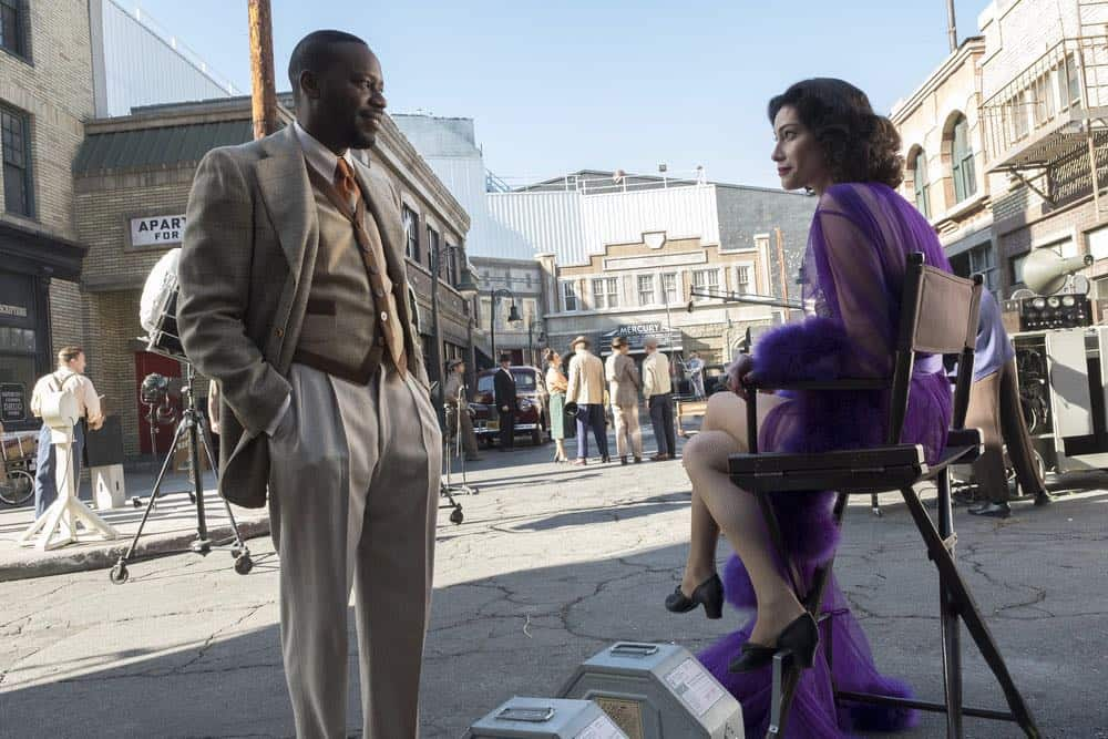 """TIMELESS -- """"Hollywoodland"""" Episode 203 -- Pictured: (l-r) Malcolm Barrett as Rufus Carlin, Alyssa Sutherland as Hedy Lamar -- (Photo by: Justin Lubin/NBC)"""
