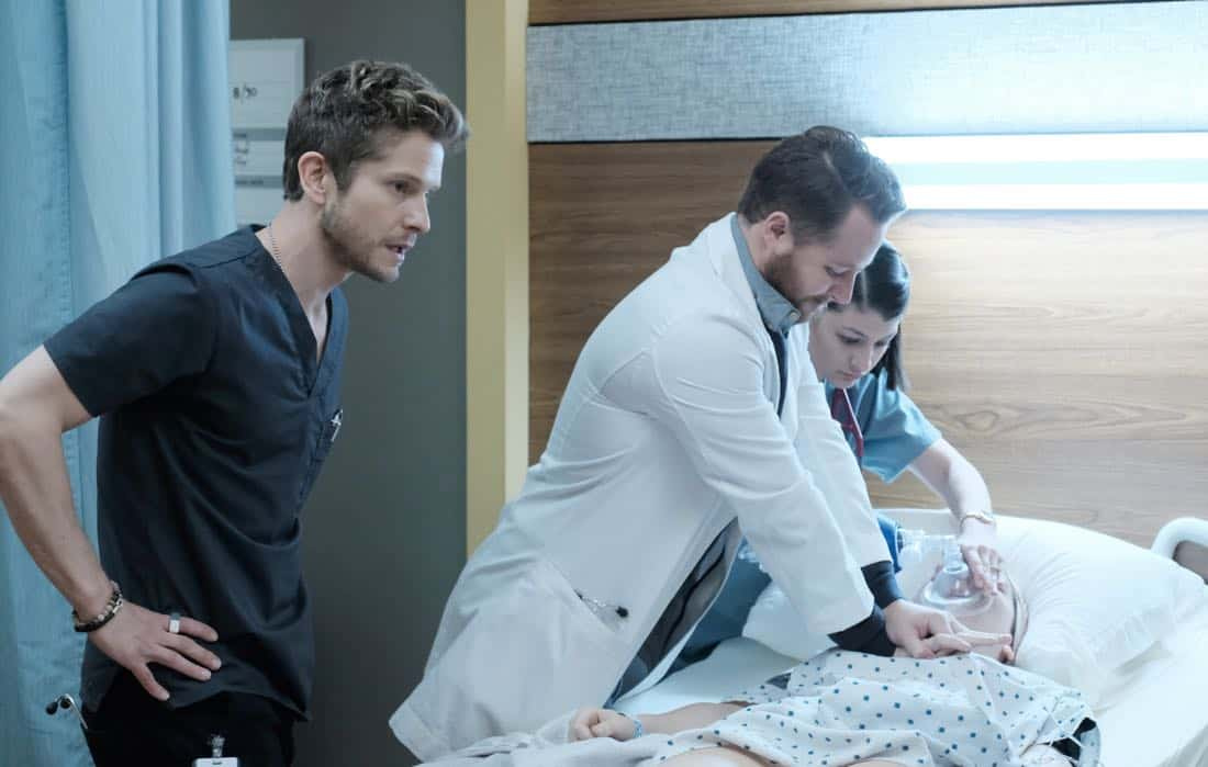 "THE RESIDENT: Matt Czuchry (L) and guest star Violett Beane (R) in the ""Lost Love"" episode of THE RESIDENT airing Monday, March 26 (9:00-10:00 PM ET/PT) on FOX. ©2018 Fox Broadcasting Co. Cr: Guy D'Alema/FOX"