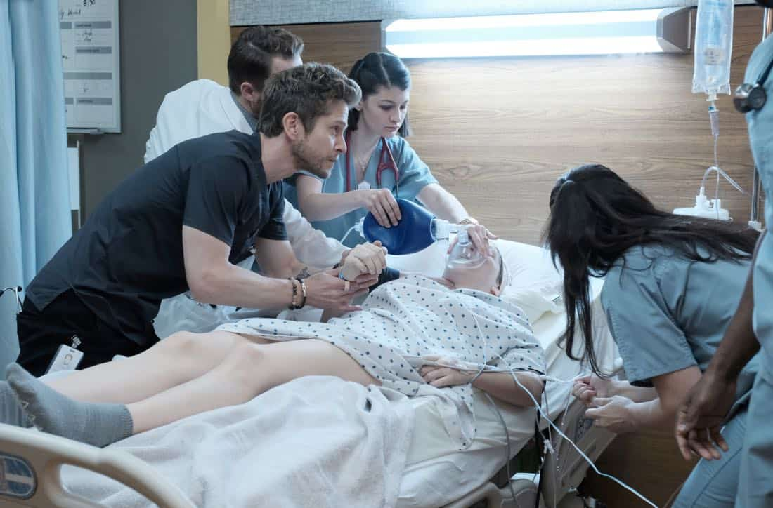 "THE RESIDENT: Matt Czuchry (L) and guest star Violett Beane (second from R) in the ""Lost Love"" episode of THE RESIDENT airing Monday, March 26 (9:00-10:00 PM ET/PT) on FOX. ©2018 Fox Broadcasting Co. Cr: Guy D'Alema/FOX"