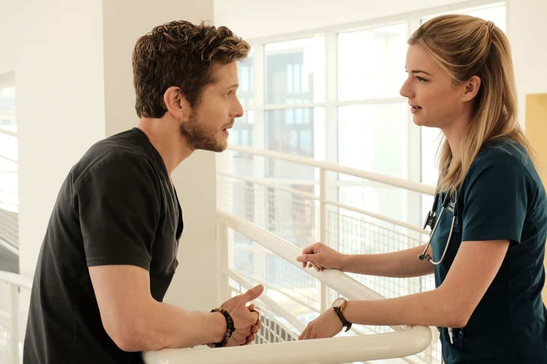 "THE RESIDENT: L-R: Matt Czuchry and Emily VanCamp in the ""Lost Love"" episode of THE RESIDENT airing Monday, March 26 (9:00-10:00 PM ET/PT) on FOX. ©2018 Fox Broadcasting Co. Cr: Guy D'Alema/FOX"