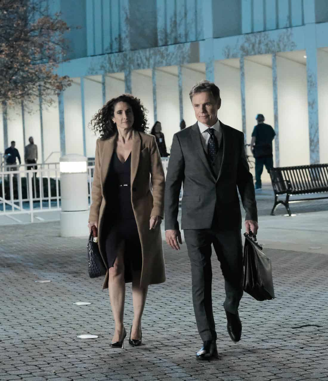 "THE RESIDENT: L-R: Melina Kanakaredes and Bruce Greenwood in the ""Lost Love"" episode of THE RESIDENT airing Monday, March 26 (9:00-10:00 PM ET/PT) on FOX. ©2018 Fox Broadcasting Co. Cr: Guy D'Alema/FOX"