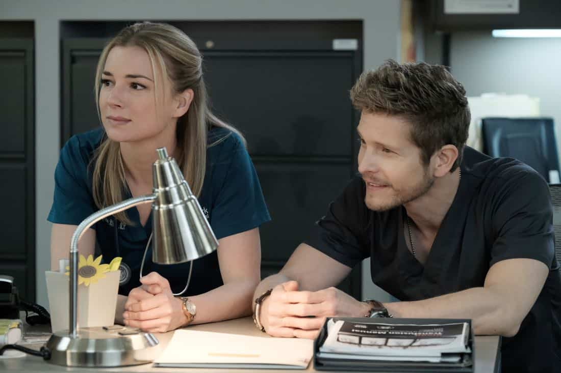 "THE RESIDENT: L-R: Emily VanCamp and Matt Czuchry in the ""Lost Love"" episode of THE RESIDENT airing Monday, March 26 (9:00-10:00 PM ET/PT) on FOX. ©2018 Fox Broadcasting Co. Cr: Guy D'Alema/FOX"