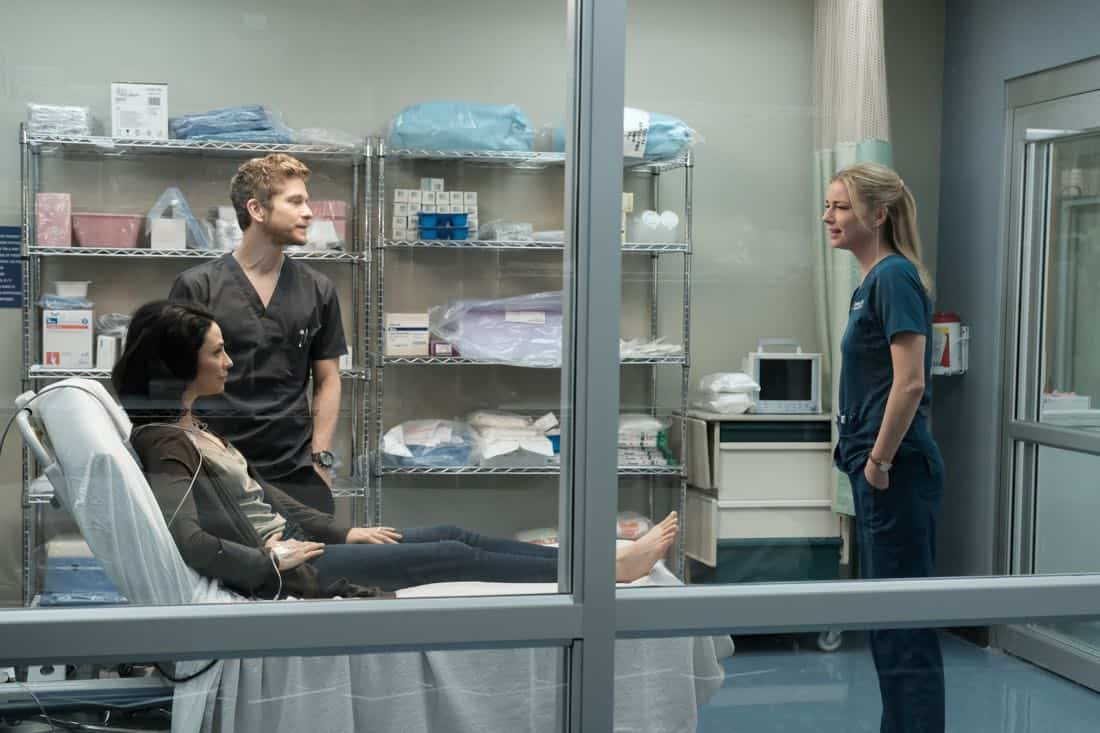"THE RESIDENT: L-R: Guest star Joanne Kelly, Matt Czuchry and Emily VanCamp in the ""Lost Love"" episode of THE RESIDENT airing Monday, March 26 (9:00-10:00 PM ET/PT) on FOX. ©2018 Fox Broadcasting Co. Cr: Guy D'Alema/FOX"