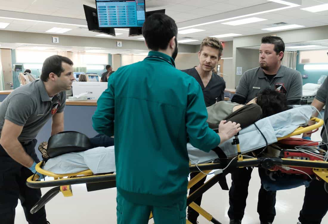 "THE RESIDENT: Matt Czuchry (C) in the ""Lost Love"" episode of THE RESIDENT airing Monday, March 26 (9:00-10:00 PM ET/PT) on FOX. ©2018 Fox Broadcasting Co. Cr: Guy D'Alema/FOX"
