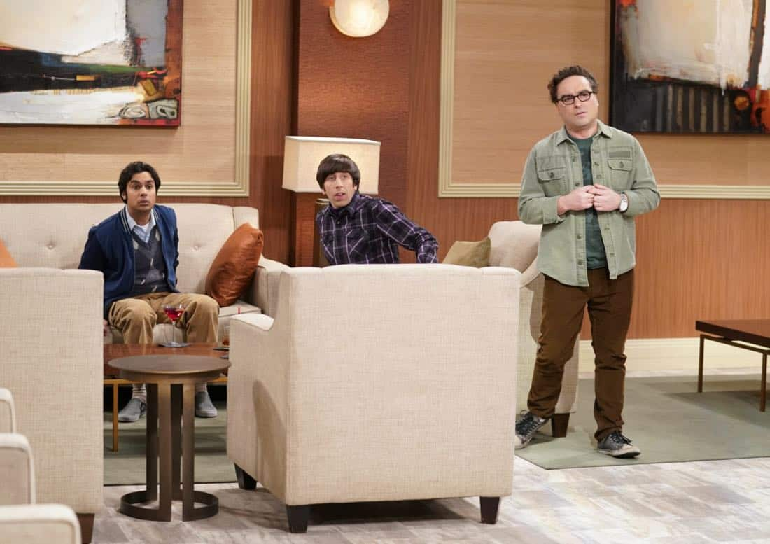 """The Gates Excitation"" - Pictured: Rajesh Koothrappali (Kunal Nayyar), Howard Wolowitz (Simon Helberg) and Leonard Hofstadter (Johnny Galecki). Penny gets the opportunity to host Bill Gates at work when his company wants to partner with her pharmaceutical company. Also, Leonard, Koothrappali, and Wolowitz do everything in their power to meet him, while Sheldon thinks he is the victim of an April Fools prank, on THE BIG BANG THEORY, Thursday, March 29 (8:00-8:31 PM, ET/PT), on the CBS Television Network. Photo: Erik Voake/CBS ©2018 CBS Broadcasting, Inc. All Rights Reserved."