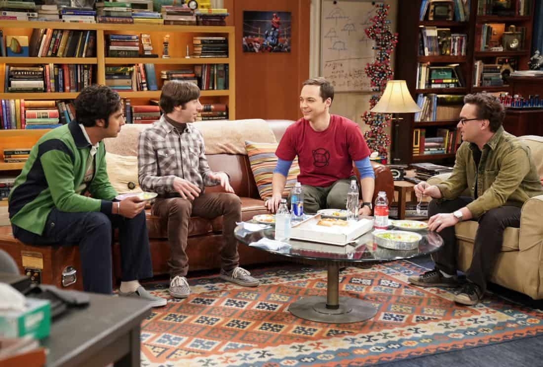 """The Gates Excitation"" - Pictured: Rajesh Koothrappali (Kunal Nayyar), Howard Wolowitz (Simon Helberg), Sheldon Cooper (Jim Parsons) and Leonard Hofstadter (Johnny Galecki). Penny gets the opportunity to host Bill Gates at work when his company wants to partner with her pharmaceutical company. Also, Leonard, Koothrappali, and Wolowitz do everything in their power to meet him, while Sheldon thinks he is the victim of an April Fools prank, on THE BIG BANG THEORY, Thursday, March 29 (8:00-8:31 PM, ET/PT), on the CBS Television Network. Photo: Erik Voake/CBS ©2018 CBS Broadcasting, Inc. All Rights Reserved."