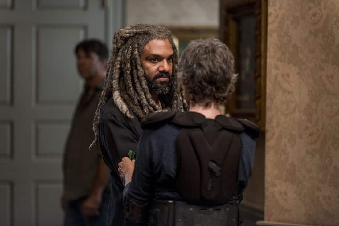 Khary Payton as Ezekiel, Melissa McBride as Carol Peletier - The Walking Dead _ Season 8, Episode 13 - Photo Credit: Gene Page/AMC