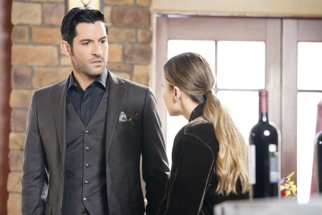 "LUCIFER: L-R: Tom Ellis and Lauren German in the ""Orange Is The New Maze"" episode of LUCIFER airing Monday, March 26 (8:00-9:00 PM ET/PT) on FOX. CR: Erik Voake/FOX"