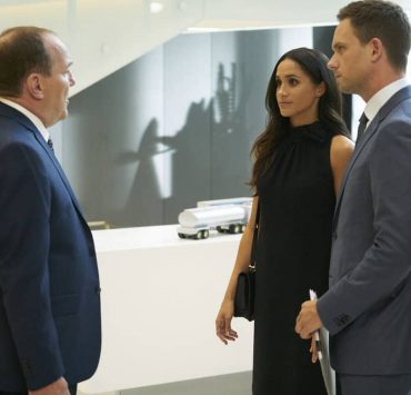SUITS -- Episode 711 -- Pictured: (l-r) Meghan Markle as Rachel Zane, Patrick J. Adams as Mike Ross -- (Photo by: Ian Watson/USA Network)