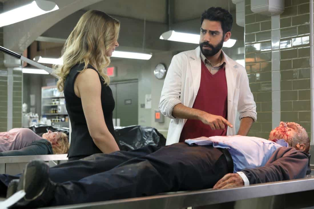 "iZombie -- ""Goon Struck"" -- Image Number: ZMB405a_0010.jpg -- Pictured (L-R): Aly Michalka as Peyton and Rahul Kohli as Ravi -- Photo: Bettina Strauss/The CW -- © 2018 The CW Network, LLC. All rights reserved."
