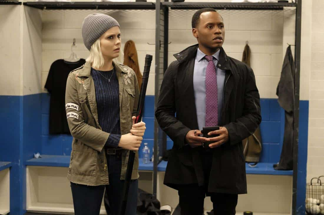 "iZombie -- ""Goon Struck"" -- Image Number: ZMB405a_0427.jpg -- Pictured (L-R): Rose McIver as Liv and Malcolm Goodwin as Clive -- Photo: Bettina Strauss/The CW -- © 2018 The CW Network, LLC. All rights reserved."