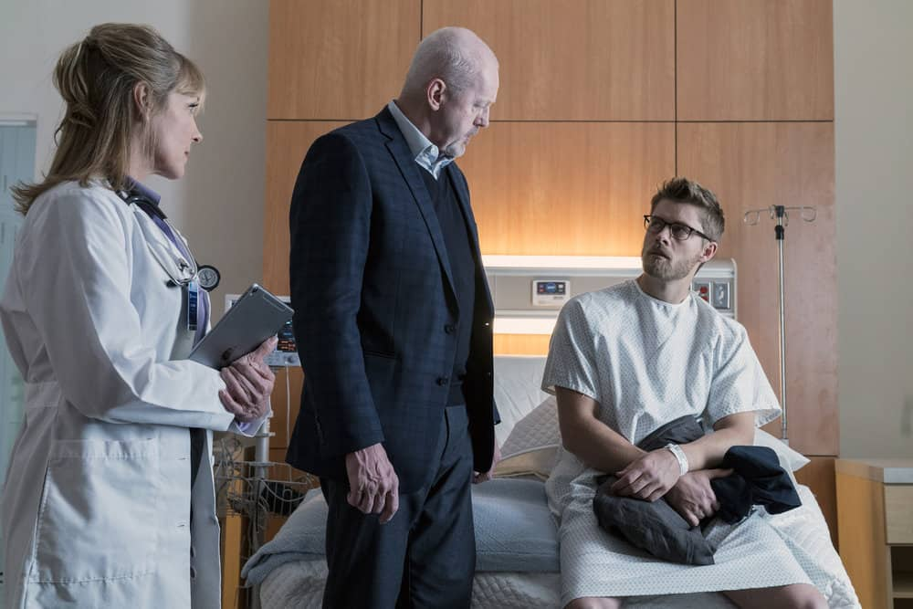 "BLINDSPOT -- ""Artful Dodge"" Episode 316 -- Pictured: (l-r) David Morse as Hank Crawford, Luke Mitchell as Roman -- (Photo by: David Giesbrecht/NBC/Warner Bros)"
