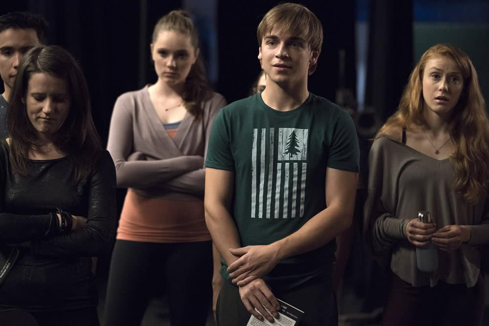"RISE -- ""What Flowers May Bloom"" Episode 103 -- Pictured: Erin Kommor as Sasha, Amy Forsyth as Gwen Strickland, Sean Grandillo as Jeremy, Caroline Pluta as Singer -- (Photo by: Virginia Sherwood/NBC)"