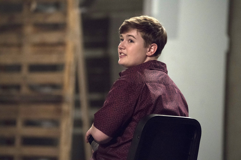 "RISE -- ""What Flowers May Bloom"" Episode 103 -- Pictured: Ellie Desautels as Michael Hallowell -- (Photo by: Virginia Sherwood/NBC)"