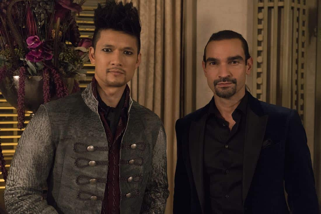 "SHADOWHUNTERS - ""The Powers That Be"" - The Warlocks' magic is becoming corrupted by a demonic presence, while Izzy and Luke try to track down more information on the recent series of possessions. This episode of ""Shadowhunters"" airs Tuesday, March 27 (8:00 - 9:00 p.m. EDT) on Freeform. (Freeform/Ian Watson) HARRY SHUM JR., JAVIER MUÑOZ"