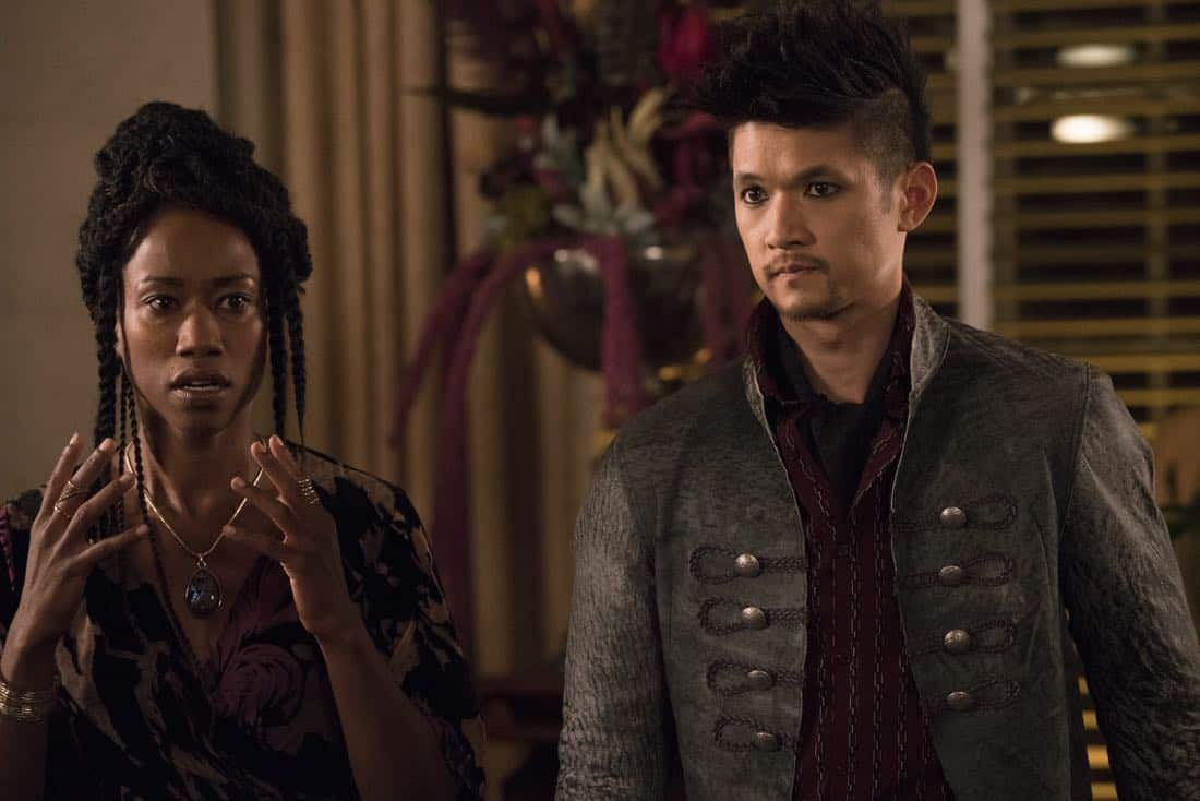 "SHADOWHUNTERS - ""The Powers That Be"" - The Warlocks' magic is becoming corrupted by a demonic presence, while Izzy and Luke try to track down more information on the recent series of possessions. This episode of ""Shadowhunters"" airs Tuesday, March 27 (8:00 - 9:00 p.m. EDT) on Freeform. (Freeform/Ian Watson) SOPHIA WALKER, HARRY SHUM JR."
