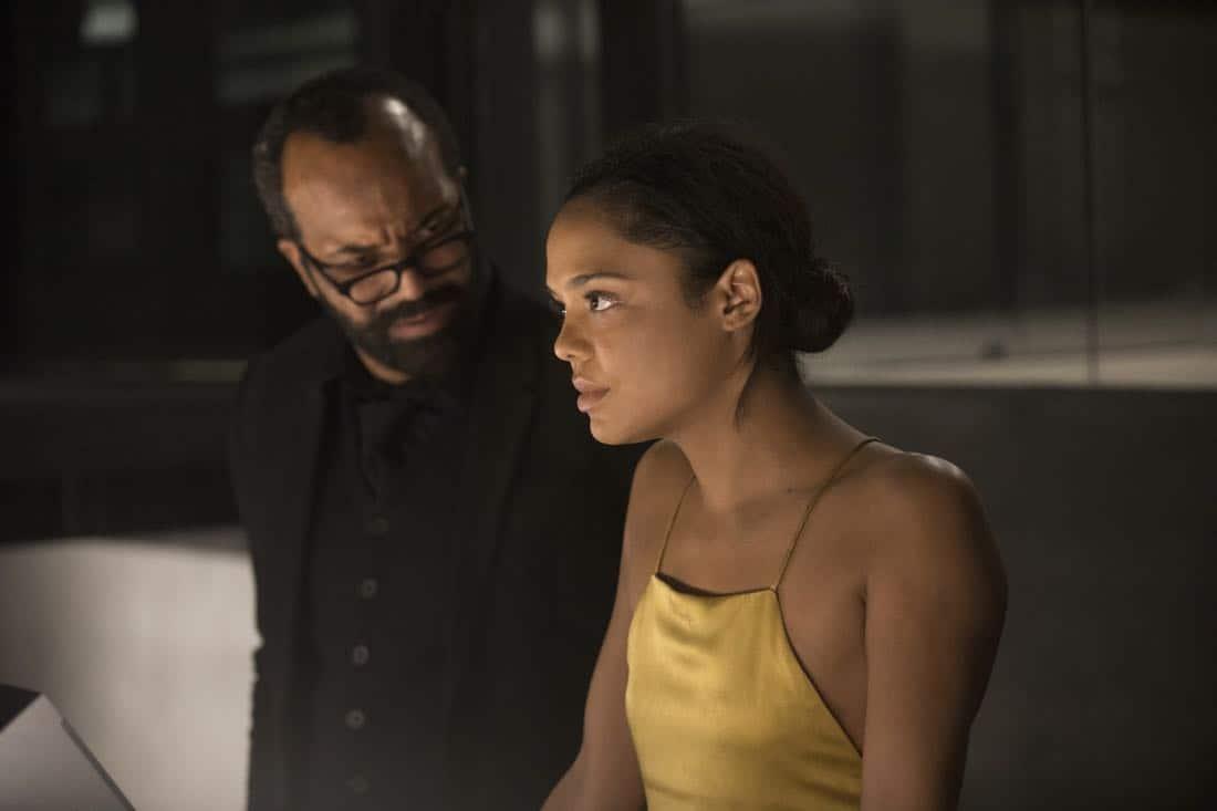 Episode 11 (season 2, episode 1), debut 4/22/18: Jeffrey Wright, Tessa Thompson. photo: John P. Johnson/HBO