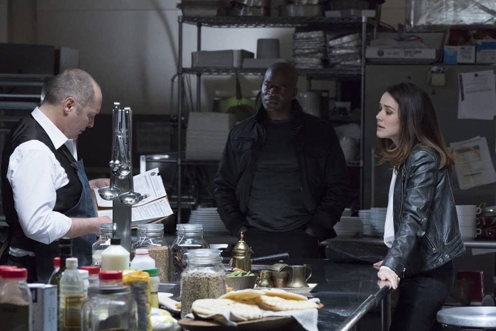 "THE BLACKLIST -- ""Anna-Gracia Duerte (#25)"" Episode 517 -- Pictured: (l-r) James Spader as Raymond ""Red"" Reddington, Hisham Tawfiq as Dembe Zuma, Megan Boone as Elizabeth Keen -- (Photo by: Virginia Sherwood/NBC)"