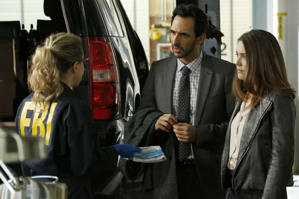 "THE BLACKLIST -- ""Anna-Gracia Duerte (#25)"" Episode 517 -- Pictured: (l-r) Amir Arison as Aram Mojtabai, Megan Boone as Elizabeth Keen -- (Photo by: Will Hart/NBC)"