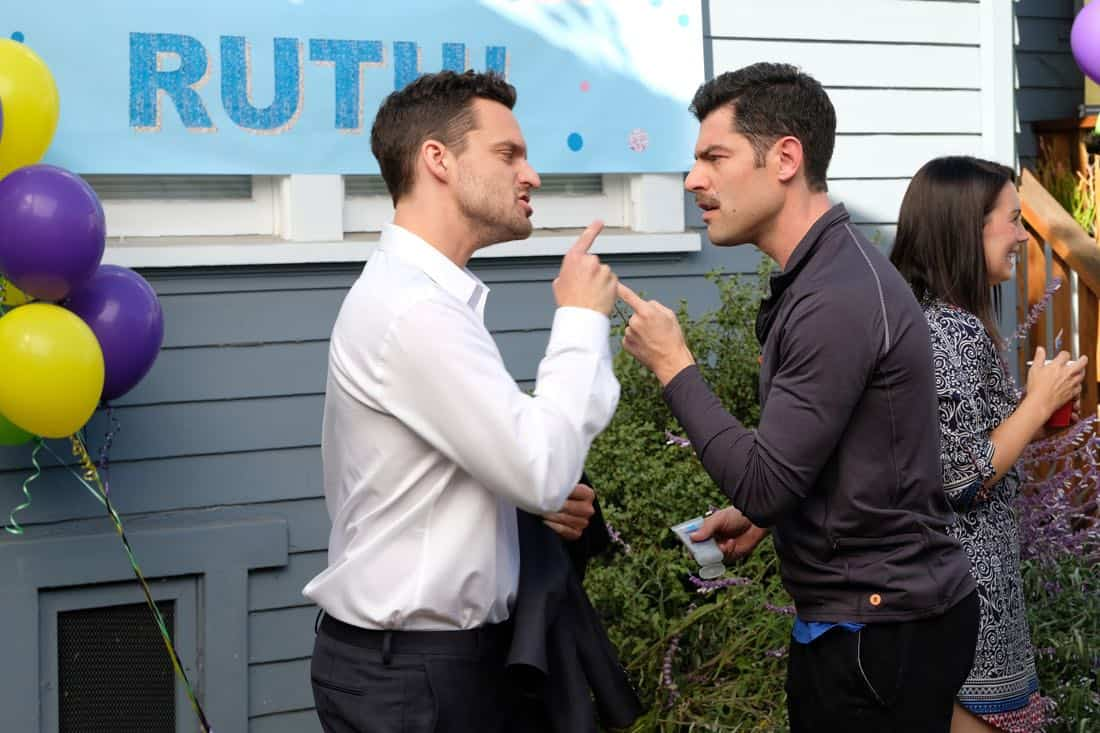 "NEW GIRL: L-R: Jake Johnson and Max Greenfield in the ""About Three Years Later"" season seven premiere episode of NEW GIRL airing Tuesday, April10 (9:30-10:00 PM ET/PT) on FOX. ©2018 Fox Broadcasting Co. Cr: Ray Mickshaw/FOX"