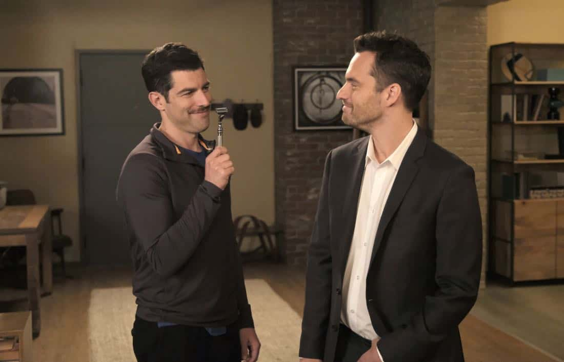 "NEW GIRL: L-R: Max Greenfield and Jake Johnson in the ""About Three Years Later"" season seven premiere episode of NEW GIRL airing Tuesday, April10 (9:30-10:00 PM ET/PT) on FOX. ©2018 Fox Broadcasting Co. Cr: Ray Mickshaw/FOX"