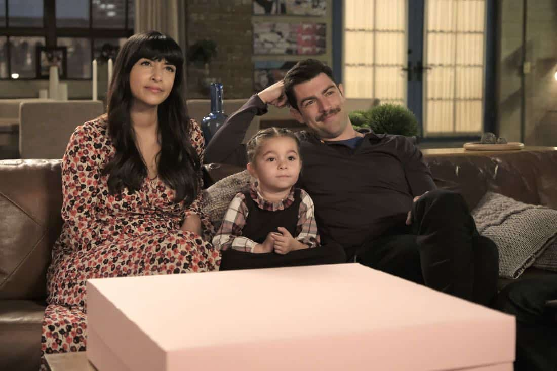 "NEW GIRL: L-R: Hannah Simone, guest star and Max Greenfield in the ""About Three Years Later"" season seven premiere episode of NEW GIRL airing Tuesday, April10 (9:30-10:00 PM ET/PT) on FOX. ©2018 Fox Broadcasting Co. Cr: Ray Mickshaw/FOX"