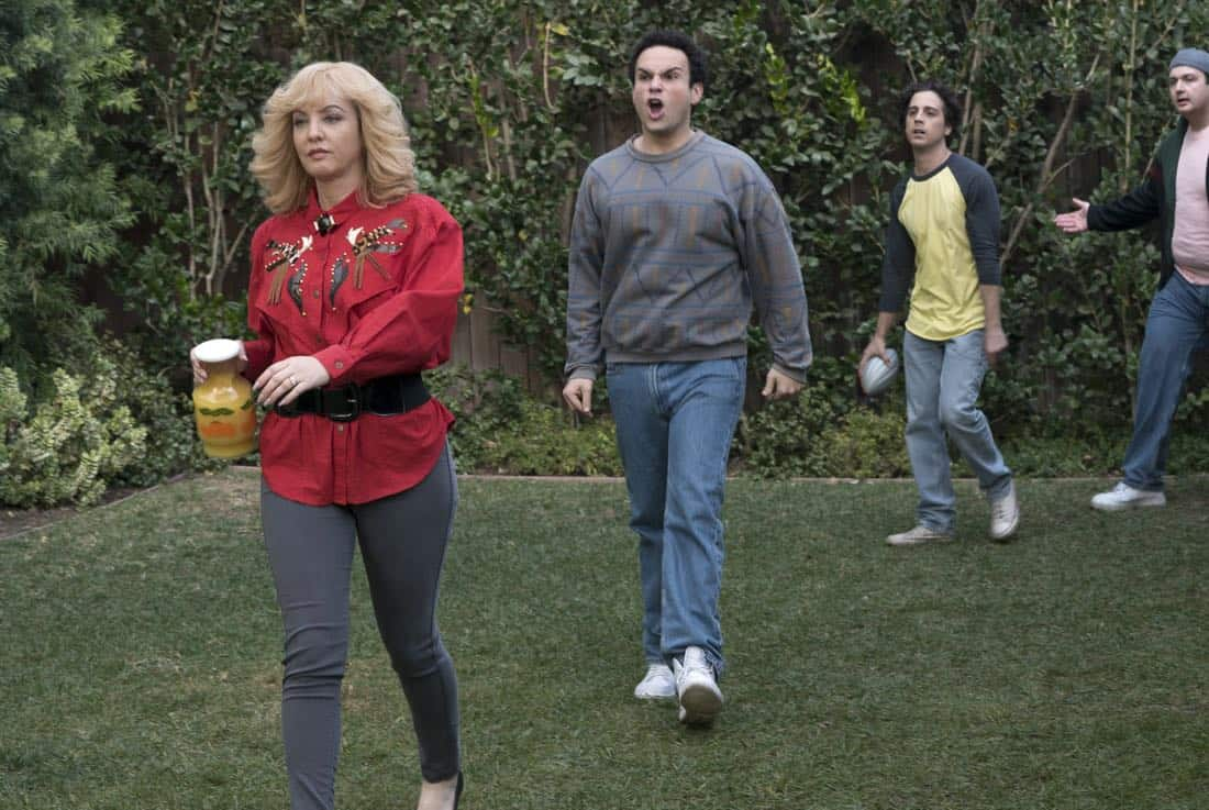 "THE GOLDBERGS - ""Colors"" - Barry enlists the JTP to help him break up Beverly's group of friends so Barry can have all the attention but soon realizes he made a major mistake when Beverly gets into a fight with her friends. Meanwhile, Adam's attempts to trick Murray into loving theater backfire, on ""The Goldbergs,"" WEDNESDAY, MARCH 28 (8:00-8:30 p.m. EDT), on The ABC Television Network. (ABC/Byron Cohen) WENDI MCLENDON-COVEY, TROY GENTILE, MATT BUSH, NOAH MUNCK"