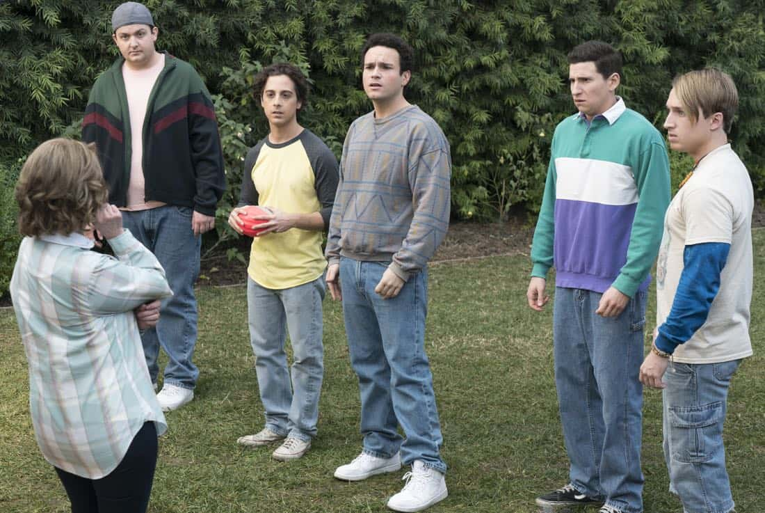 "THE GOLDBERGS - ""Colors"" - Barry enlists the JTP to help him break up Beverly's group of friends so Barry can have all the attention but soon realizes he made a major mistake when Beverly gets into a fight with her friends. Meanwhile, Adam's attempts to trick Murray into loving theater backfire, on ""The Goldbergs,"" WEDNESDAY, MARCH 28 (8:00-8:30 p.m. EDT), on The ABC Television Network. (ABC/Byron Cohen) NOAH MUNCK, MATT BUSH, TROY GENTILE, SAM LERNER, SHAYNE TOPP"